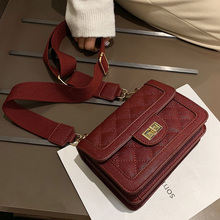 Crossbody Bag Ladies Korean Style Lingge Bags for Women Wide Shoulder Strap Small