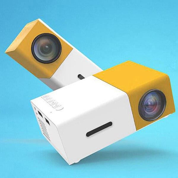 Projetor mini projetor portátil teatro escritório em casa hd 1080 p amarelo lhb99