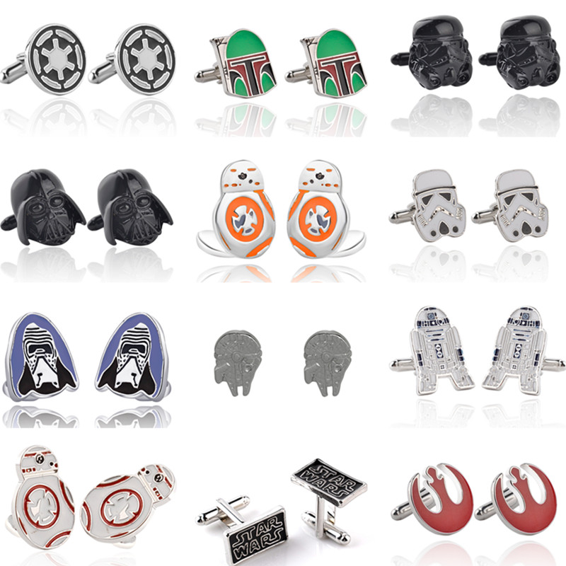 Star Wars Cuff Links Buttons Falcon Darth Vader Letter Tie Clips Alloy Shirt Cufflinks Men Jewelry Gift