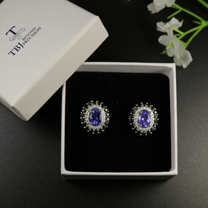Image 5 - tbj 4ct Nautral Blue Tanzanite Clasp earring 925 sterling silver fine jewelry oval 7*9mm dianna earring for women christmas gift