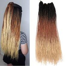 30 прядей/шт, вязанные волосы, косички 24 дюйма, Сенегальский твист, Омбре, синтетические косички волос, три тона, блонд