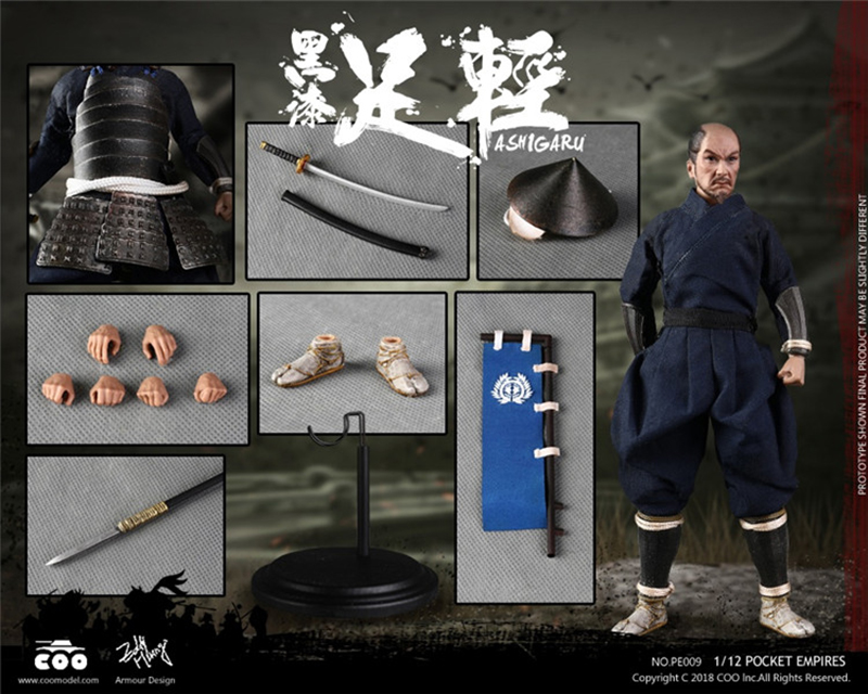 1/12 Scale COOMODEL PE009 Japanese Samurai Soldier BLACK ARMOR ASHIGARU Figure Doll Collection