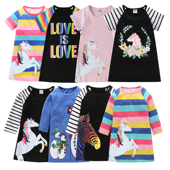 New Girls Dress Toddler Baby Clothes Dresses Summer Children Clothing Rainbow A-line Cotton Princess Kids Tops Outfits for 1-7 Y image