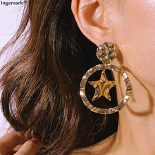 Ingemark Exaggerated Star Alloy Drop Earrings Statement 2019 Simple Big Round Dangle Earring Personality Fashion Women Brincos