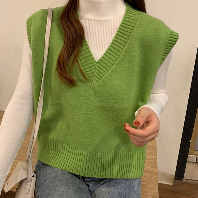 Autumn Sleeveless Sweater Women Sweet Solid Color V Neck Knitted Loose Sleeveless Slim Vest Jumpers Pull Femme 6