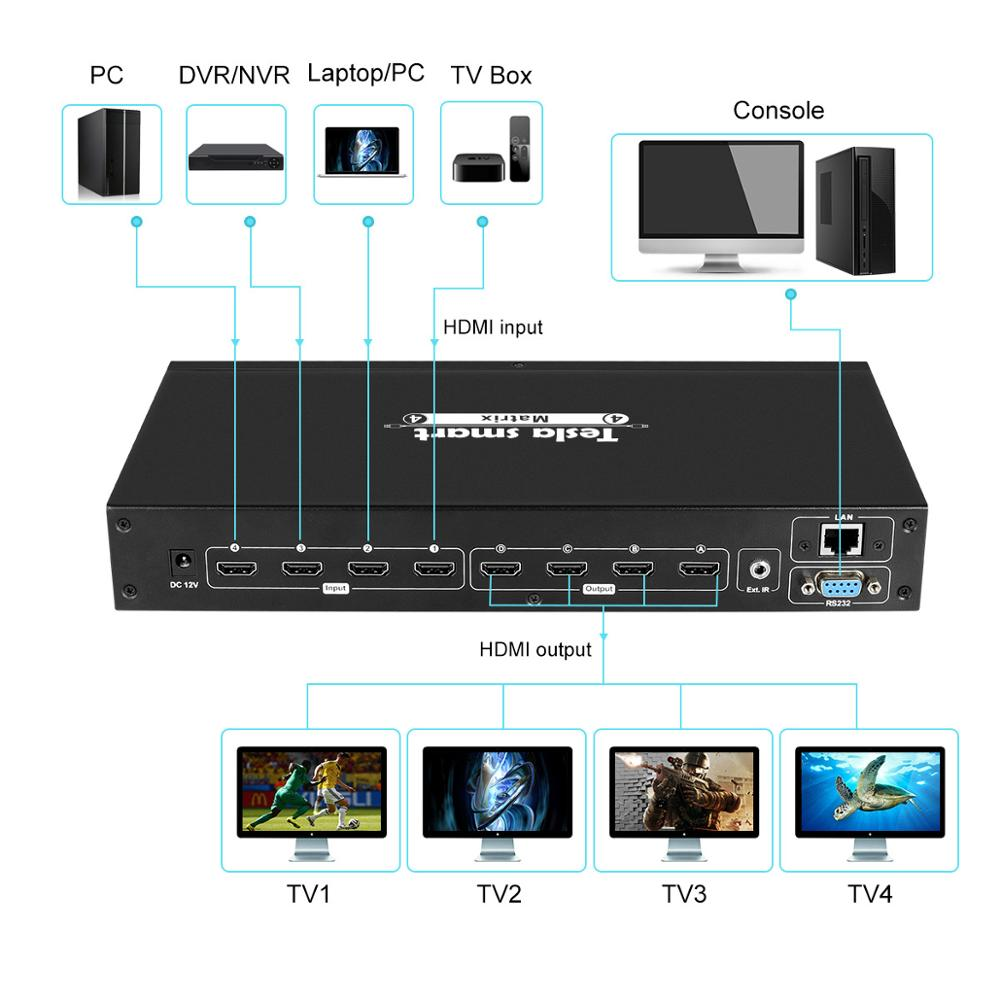 Image 2 - 4K 4x4 HDMI Matrix 4 In 4 Out Ultra HD 4K with LAN RS232 Up to4K*2K(3840*2160)@30HZ HDCP 3D HDMI 1.4 Complianttesla smartversion  -