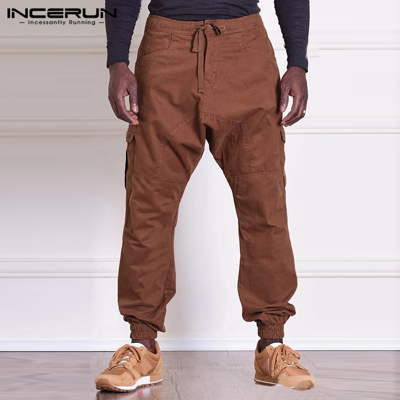 INCERUN Men's Fashion Cargo Pants Man Casual straight-leg Overall Solid Color Multi Pocket Gilet Male Outdoor Trousers Plus size