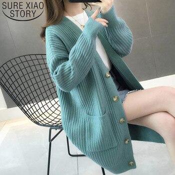 Women Sweater2019Autumn/winter Fashion Women Cardigans Long Sleeve Button Sweater Women Casual Solid Long Women Cardigan 5784 50