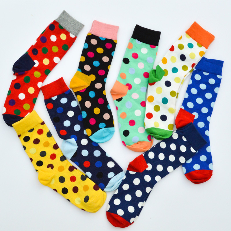Men's Socks Breathable Cotton Socks Colorful Dot Socks Comfortable To Wear College Style Socks