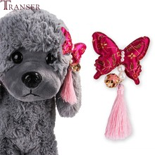 Transer 1pc Butterfly with Pearl Tassels Pet Dog Hair Clips New Year Party Cat Dogs Grooming Products Hair Accessoires 9107(China)