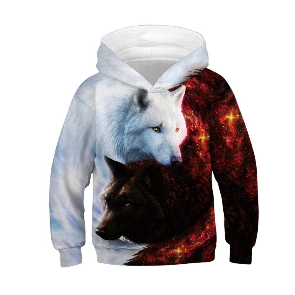 Wolf Tiger 3D Print Boys Hoodies Teens Spring Autumn Outerwear Kids Hooded Sweatshirt Clothes Children Long Sleeve Pullover Tops 3