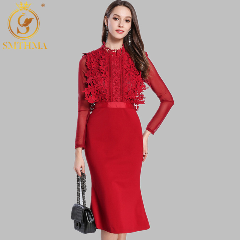 SMTHMA HIGH QUALITY Newest 2019 Designer Runway Red Dress Women's Long Sleeve Lace Patchwork Mermaid Dress 17