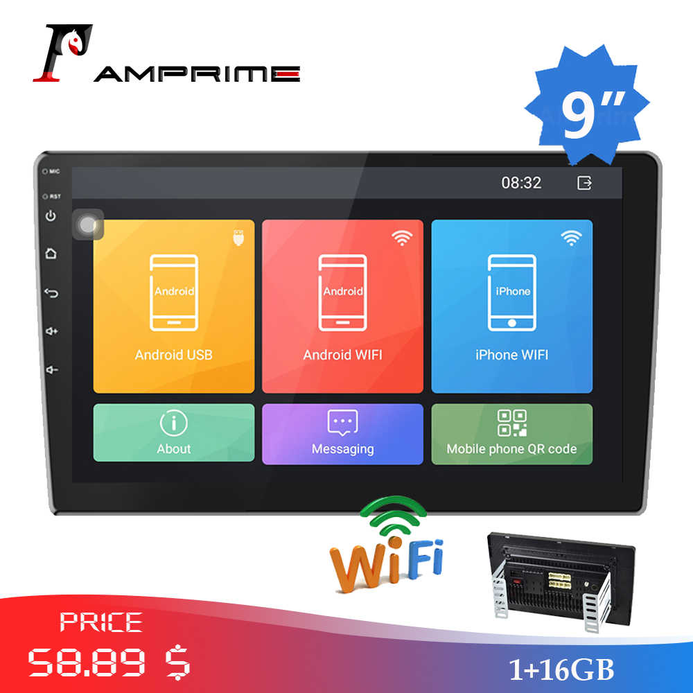 "Amprime 9 ""Android Autoradio 2 Din Multimedia Player Gps Navigatie Auto Stereo Wifi Bluetooth Fm Video Speler Mirrorlink camera"