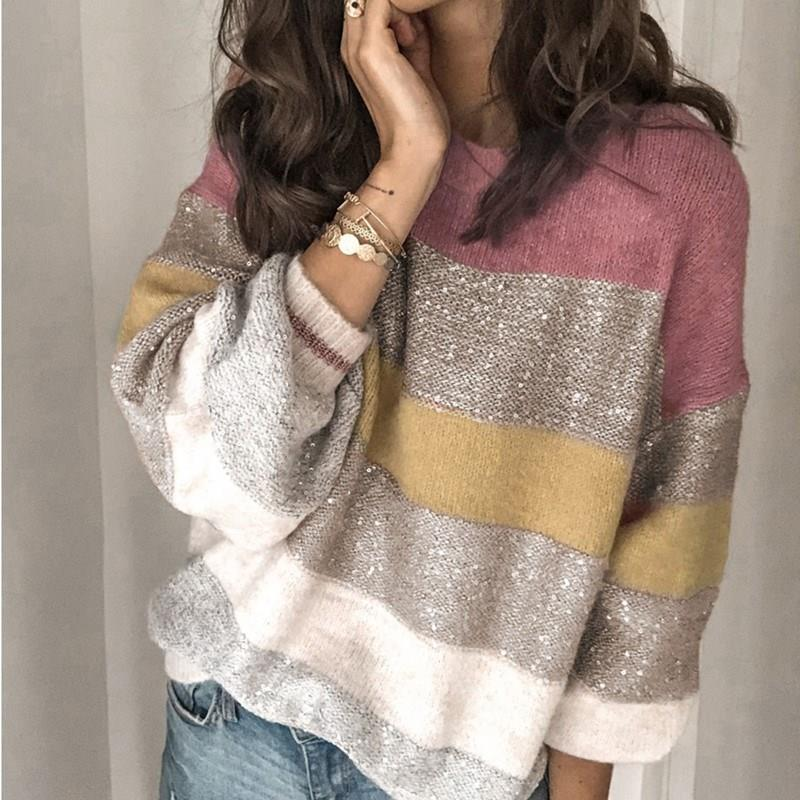 Loose Casual Patchwork Sweater Women Winter 2019 Female Knitted Pullover Long Sleeve Striped Knitted Sweaters