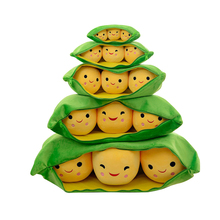 Soft Pea Pods Plush Toy Green Beans Soy Stuffed Cotton Plush Animal Doll Waist Pillow Unisex Christmas Gift For Kids Children kids baby plush toy cute pea stuffed plant doll girlfriend kawaii for children gift high quality pea shaped pillow toy