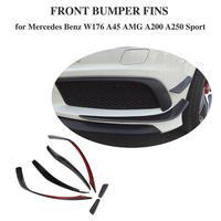 W176 Front Bumper Splitter Lip Carbon Fiber Canards Spoiler For Mercedes Benz A180 A200 A250 A45 Look Anterior lip 2013 15