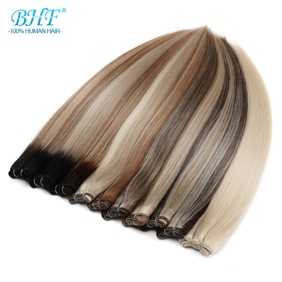 BHF Human Hair Weaving Bundles 100% Machine Made Remy Russia Straight Human Hair Extension Can Curly