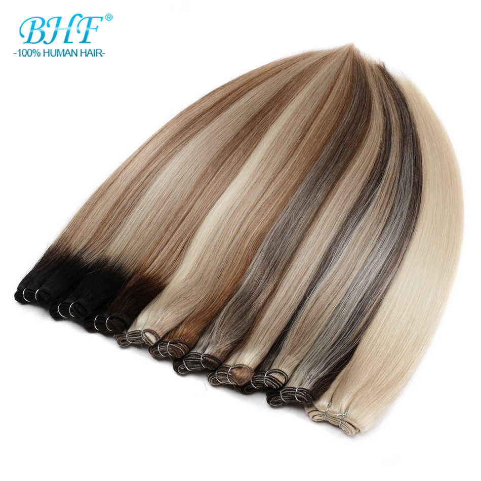 Paquetes de tejido de cabello humano BHF 100% hecho a máquina Remy Rusia extensión de cabello humano recto puede rizado