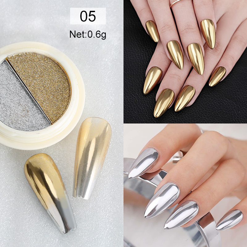 Rose Gold Bubble Mirror Powder Metallic Nail Glitter Holographics Chrome Dust Sparkling Flakes Pigment Manicur Nail Art Decor 21