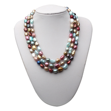 Fashion Three layer Pearl Necklace Multicolor Natural freshwater Choker Baroque for Women Jewelry