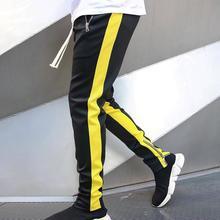 Мужчины стильный цвет блок молния карманы шнурок спорт скинни брюки брюки