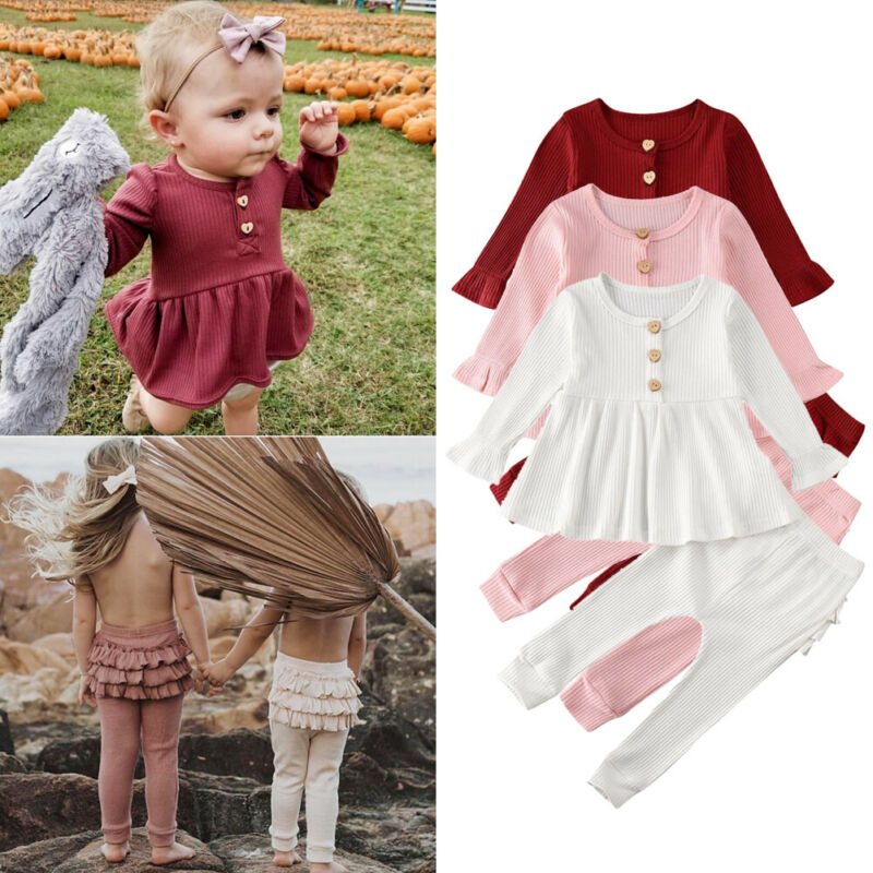 Pretty Kids Baby Girl Knitted Sets Autumn Clothes Solid 2Pcs Flare Sleeve Shirts Tops Ruffles Leggings Baby Girl Outfits 0-24M