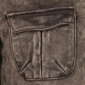 Image 4 - ヴィンテージユーズド加工オートバイの革のジャケット厚い 100% 天然牛革スリムモトバイカー革コート男性冬服 M217