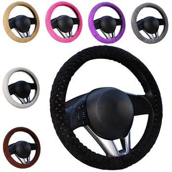 Winter Car Steering Wheel Cover/Universal Soft Warm Plush Covers for steering women men girl car interior image