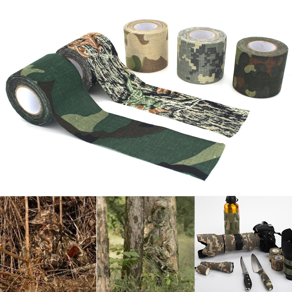 4.5*500cm Plastic Retractable Non-woven Outdoor Camouflage Hunting Cycling Stickers Tape Army Camo Wrap Sniper Rifle Hide Tape