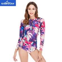 Print Swimsuit Women Rashguard Long Sleeve Sun Protection UPF 50+ Clothing Swim Shirts Swimwear Ladies Surf Shirt Surf Wear недорого