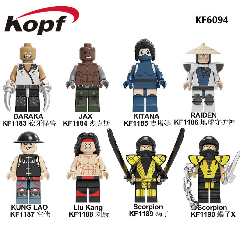 Building Blocks Mortal Kombat Bricks Baraka Jax Kitana Raiden Kung Lao Liu Kang Scorpion Figures Model Toys For Children KF6094