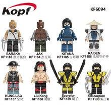 Building Blocks Mortal Kombat Bricks Baraka Jax Kitana Raiden Kung Lao Liu Kang Scorpion Figures Model Toys For Children KF6094