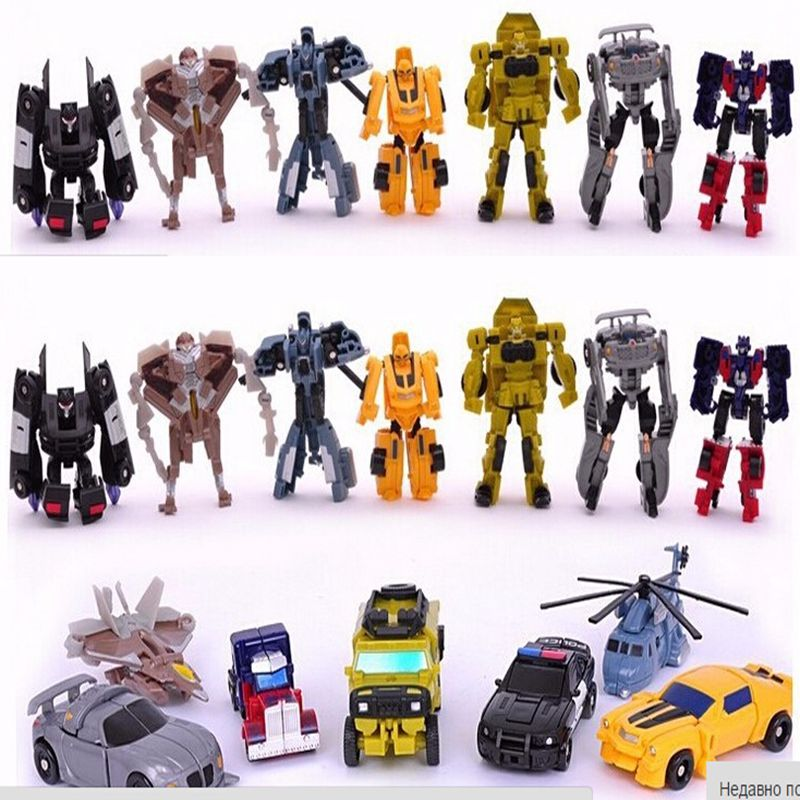 8CM Transformation Cars Robots Toys Mini Deformation Helicopter Model Robots Car Toys For Kids Gift B1807