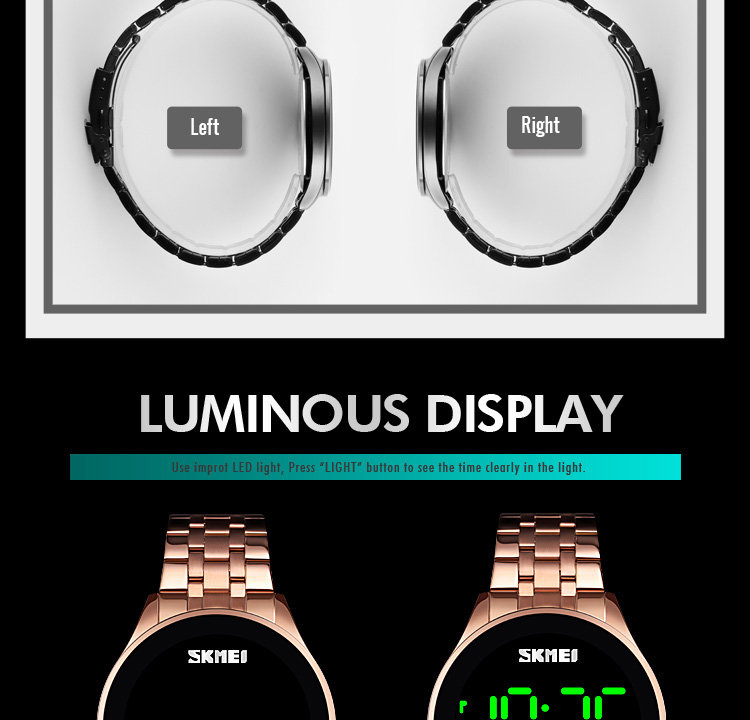 IsMyStore: Digital Watches Stainless Steel - SKMEI Fashion Men Led Light Touch Screen Waterproof Male Wristwatch Clock Relogio Masculino