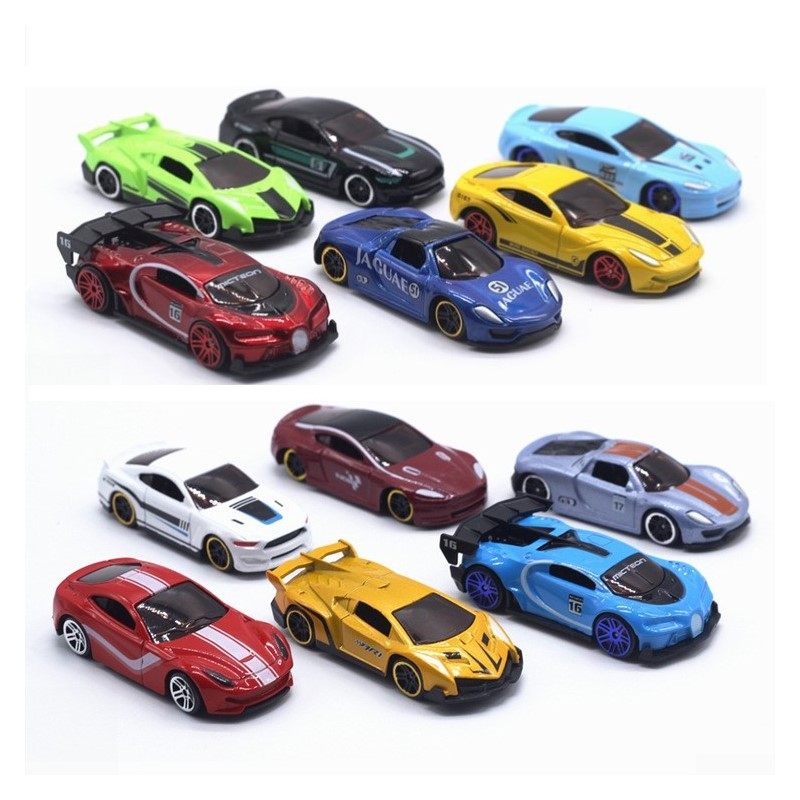 6Pcs/Set 1:64 Diecast Alloy Sports Toy Car Model Christmas Decorations Mini Kids Sliding Car Set Multi-style Gift For Children
