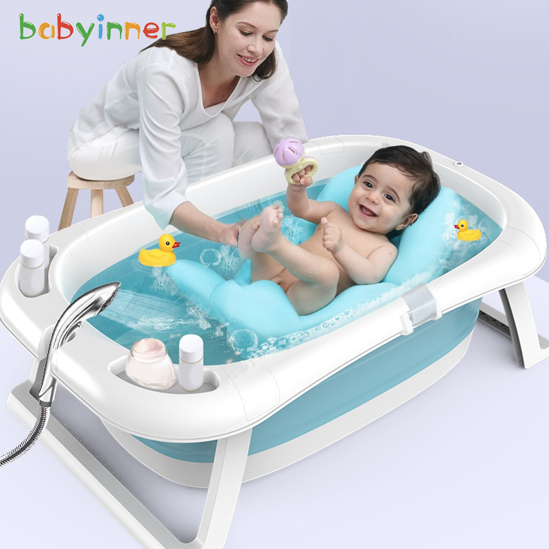 Baby Inner Baby Bath Tub Smart Bath Bucket 85*53*25cm Extra Large Long Thick Baby Newborn Supplies Folding Baby Tub