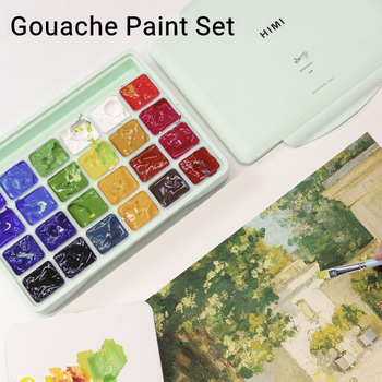 Gouache Paint Set 18 24 Colors Jelly Pigment Portable Design Capacity 30ml High-quality Art Supplies For Beginer