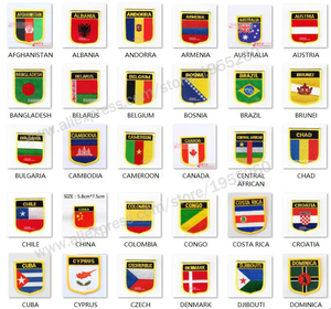 National Flag shield Embroidery Patch Badge All Over the World 6*7cm AUSTRALIA BELGIUM CANADA CHILE COLOMBIA CZECH DENMARK(China)