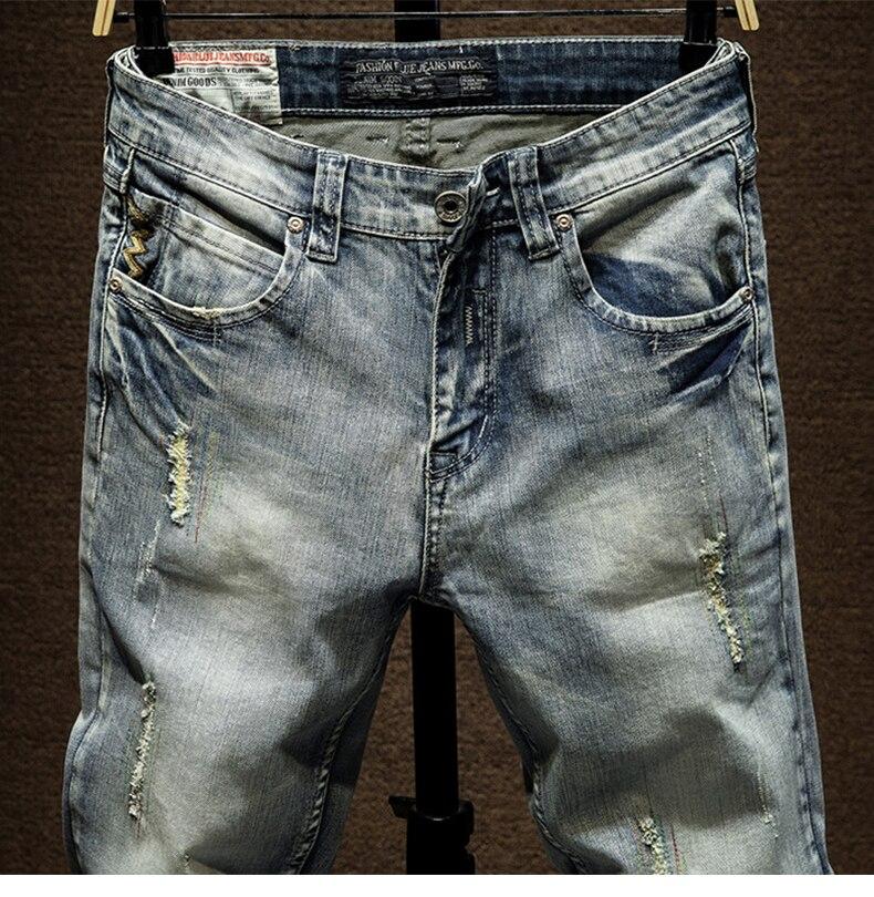 Skinny Jeans Men Light Blue Stretch Ripped Biker Jeans Pants Man Distressed Mens Jeans Slim Fit