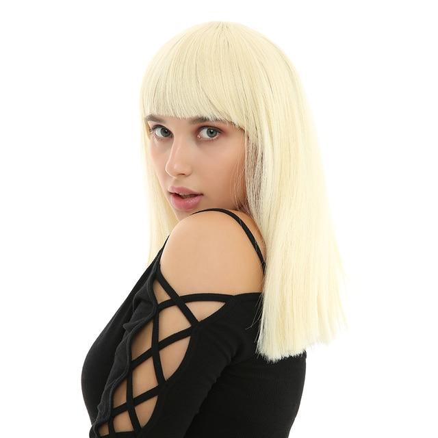 WHIMSICAL W 12 pulgadas pelo liso corto pelucas rubias peluca sintética para mujeres blancas con flequillo pelo Natural resistente al calor