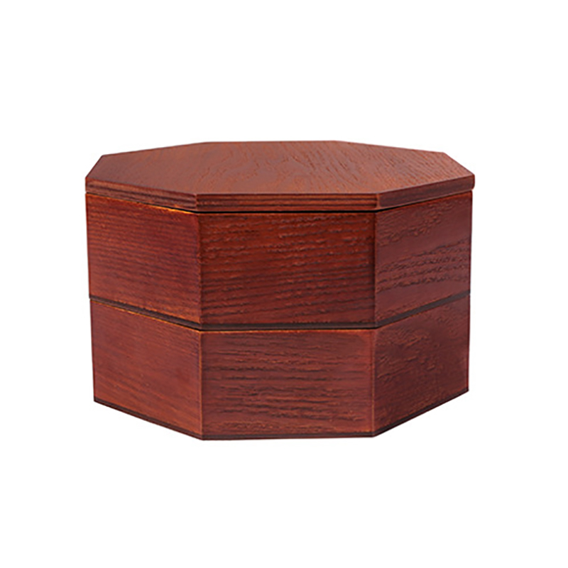 Japanese Wooden <font><b>Lunch</b></font> <font><b>Box</b></font> Creative Octagonal Students Double Portable Handbox image