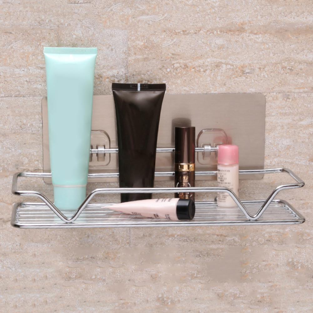 Stainless Steel No Drilling Wall Mounted Adhesive Bathroom Kitchen Storage Holder Display Shelf Rack