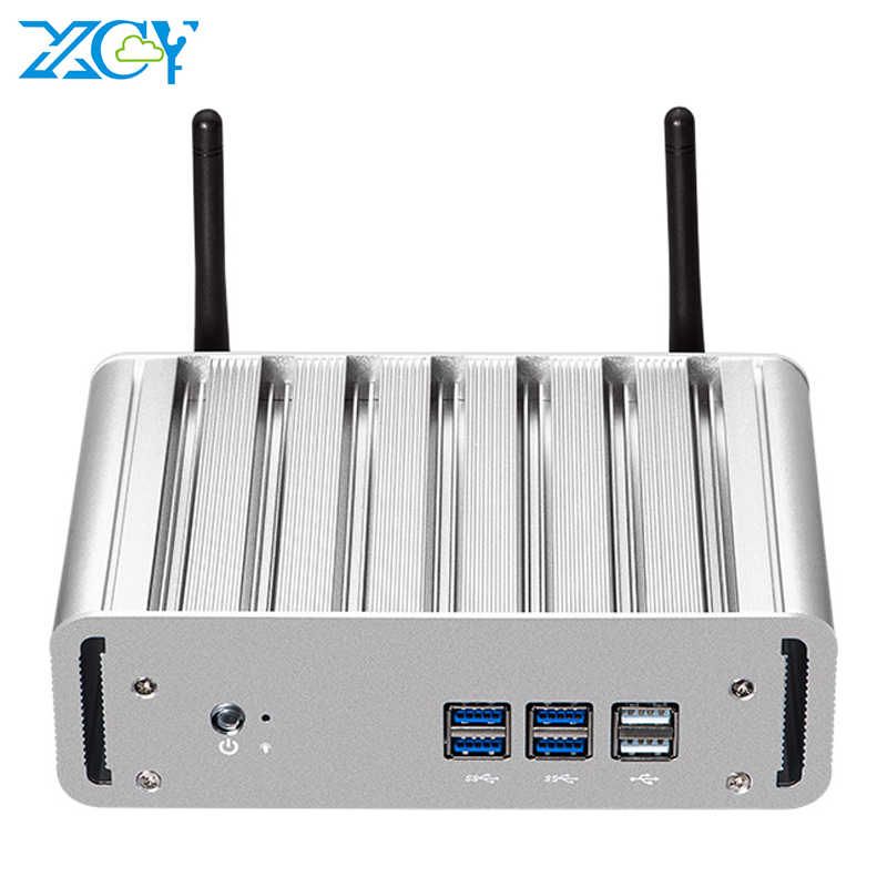 XCY Fanless Mini PC Intel Core I7 4500U Windows 10 DDR3L MSATA SSD HDMI VGA WiFi Gigabit Ethernet 8XUSBคอมพิวเตอร์สำนักงาน