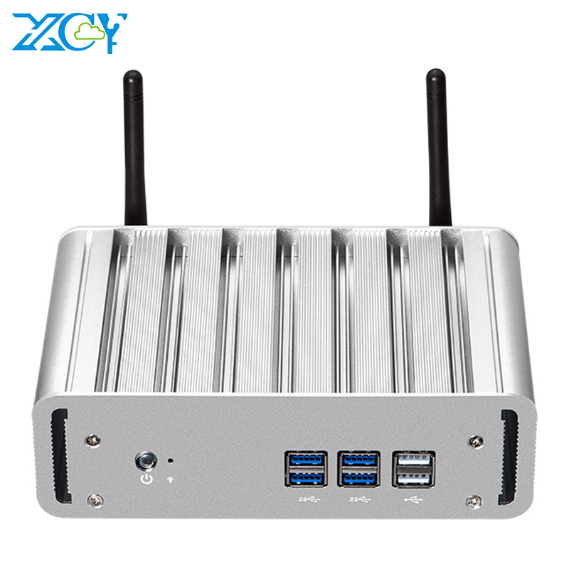 XCY Fanless Mini PC Intel Core I7 4500U I5 4210Y I3 4010Y Windows 10 Office Desktop PC HDMI VGA WiFi 6xUSB Thin Client HTPC