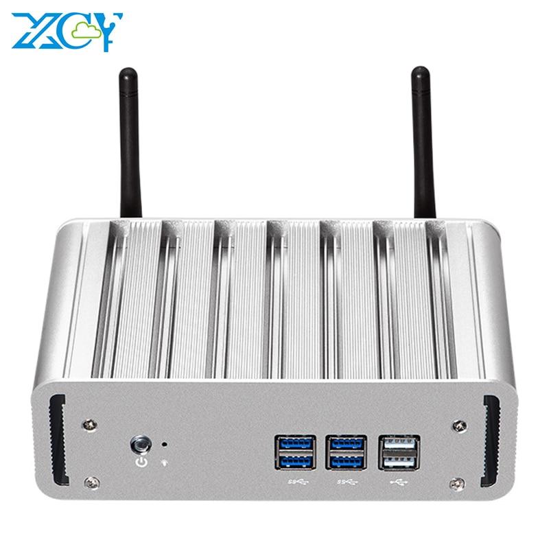 XCY X31 Fanless Mini PC Intel Core I7 4500U Windows 10 DDR3L MSATA SSD HDMI VGA WiFi Gigabit Ethernet 6*USB Office Computer