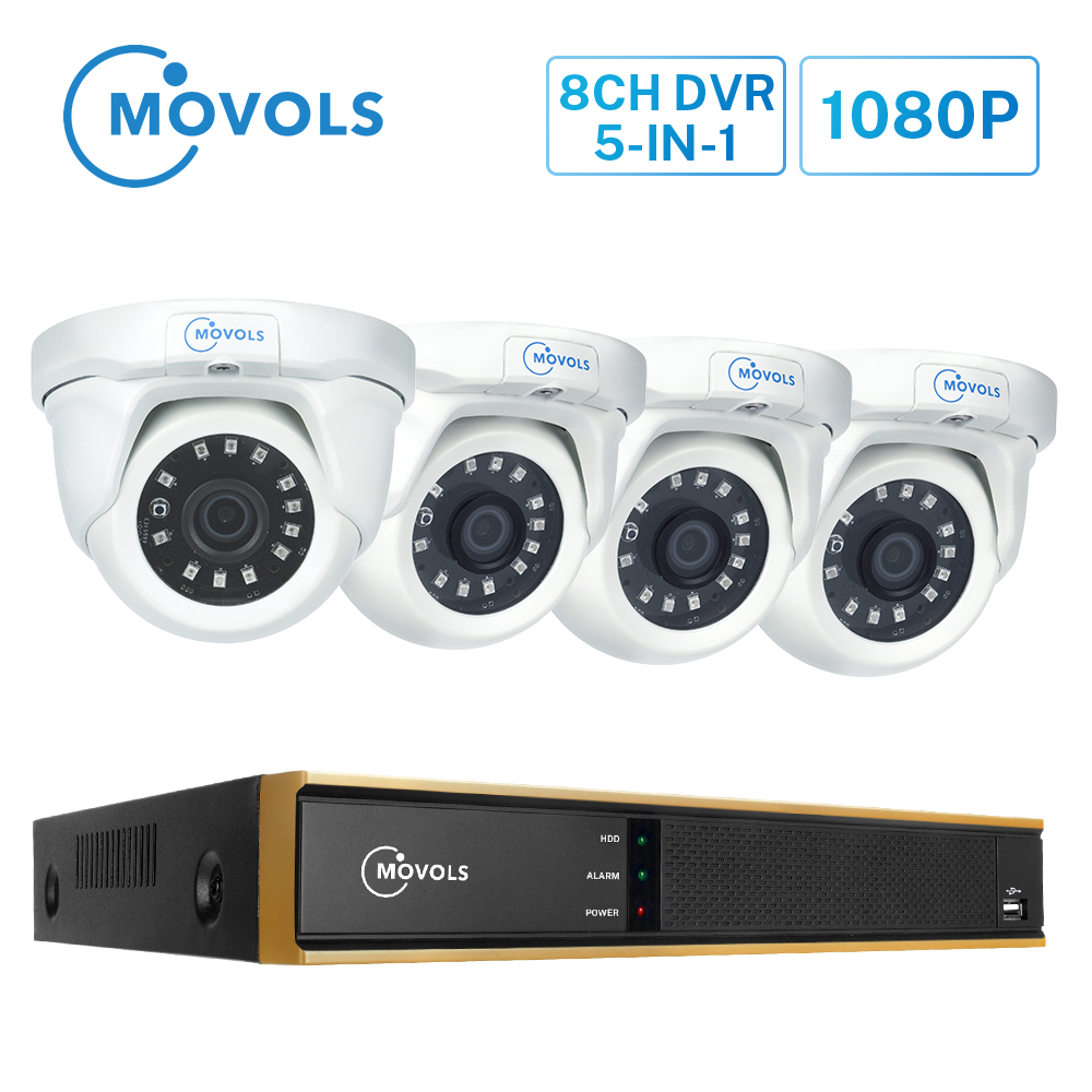 MOVOLS 1080P 8CH DVR Video Surveillance System 4PCS 2MP Home Outdoor Night Vision Security Camera Waterproof CCTV Camera System