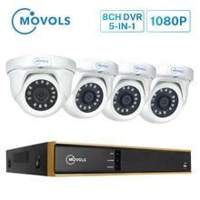 MOVOLS Sistema de videovigilancia 1080P 8ch H.265 AI DVR, cámara de seguridad para Visión Nocturna exterior del Hogar, sistema de cámara CCTV impermeable