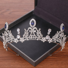 Vintage Crystal Crown Tiara Bride Wedding Headband Hair Ornament Silver Rhinestone Princess Diadem Wedding Hair Accessories(China)