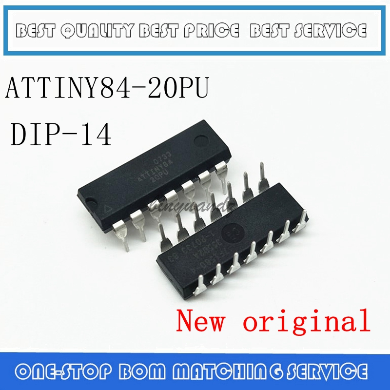 5PCS 10PCS 20PCS  ATTINY84-20PU ATTINY84 MCU 8BIT 8KB FLASH 14-DIP New And Original