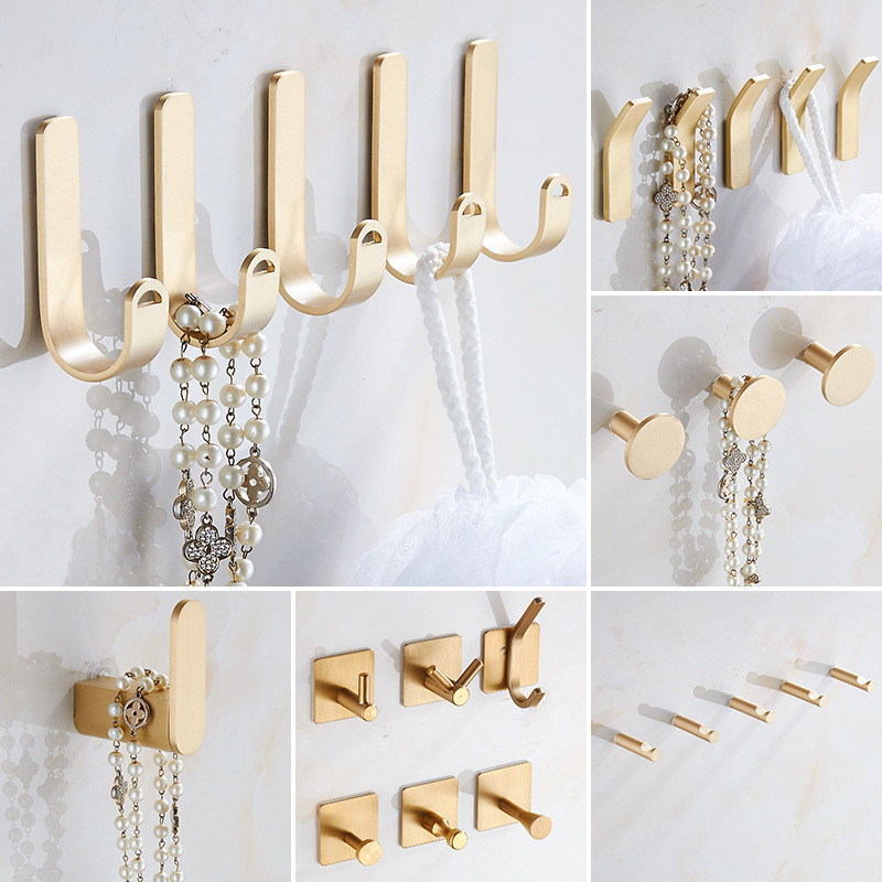 Brass Wall Hook For Bathroom Coat Clothes Hooks Gold Hook For Kitchen Robe Towel Hook